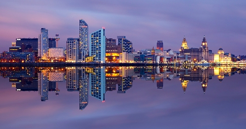 Image of Liverpool's skyline at night.  Attribution Unknown